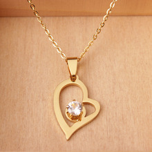 Stainless Steel Gold Heart Necklace With CZ Nickel Free Jewelry Birthday Gift Christmas Present