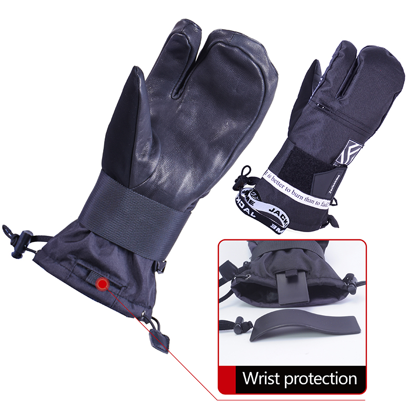 Jackcome Ski Gloves Winter Sports Waterproof Skiing Snowboard Mitten Windproof Leather Warm Snowboarding Protect Gear Gloves
