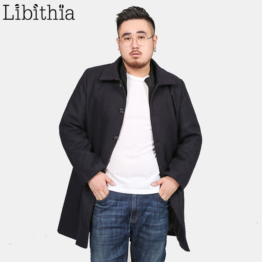 2018 Winter New Fashion <font><b>Men's</b></font> Solid Color Single Breasted <font><b>Trench</b></font> <font><b>Coat</b></font> Casual Loose Long Non-ironing Jacket Large Size L-<font><b>8XL</b></font> T250 image