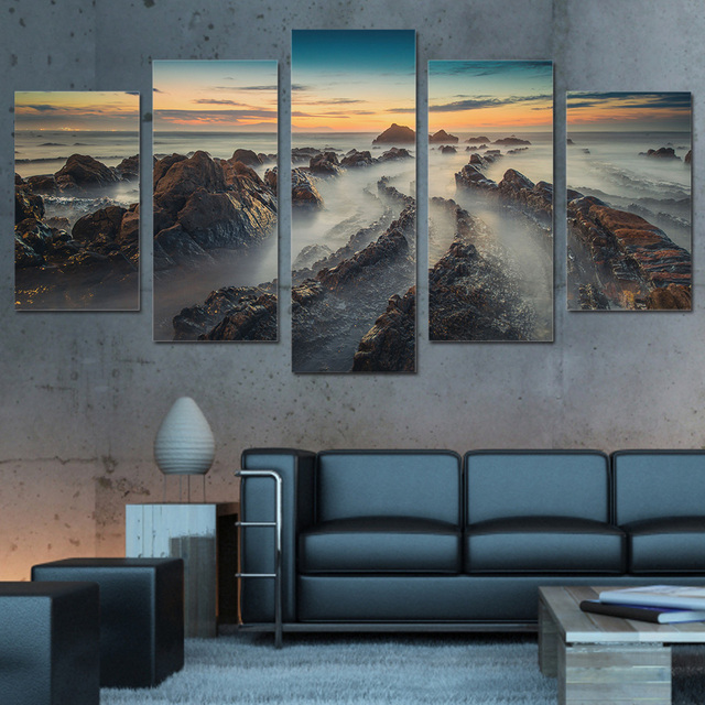 Canvas Art Wall Pictures Frame Home Decor 5 Panel Hd Printed Poster Mountain Seas Of Clouds