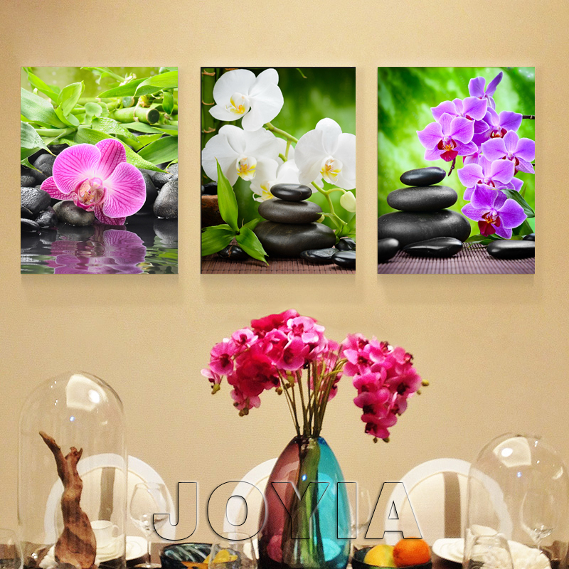 3 Piece Wall Decor Pictures White Red Flower Magnolia Painting ...