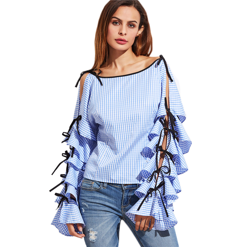 a2ef1001f49 SheIn Spring 2017 Women Clothing Women Blouse New Fashion Boat Neck Blue  Striped Bow Tie Split Ruffle Long Sleeve Blouse-in Blouses & Shirts from ...