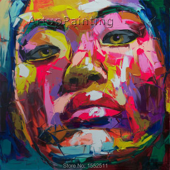 Palette knife painting portrait Palette knife Face Oil painting Impasto figure on canvas Hand painted Francoise Nielly 14-62