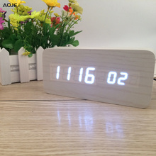 Aesthetic Creativity Digital LED Alarm Clock Sound Control LED Wooden Alarm Despertador Clock Desktop Alarm Temperature Display