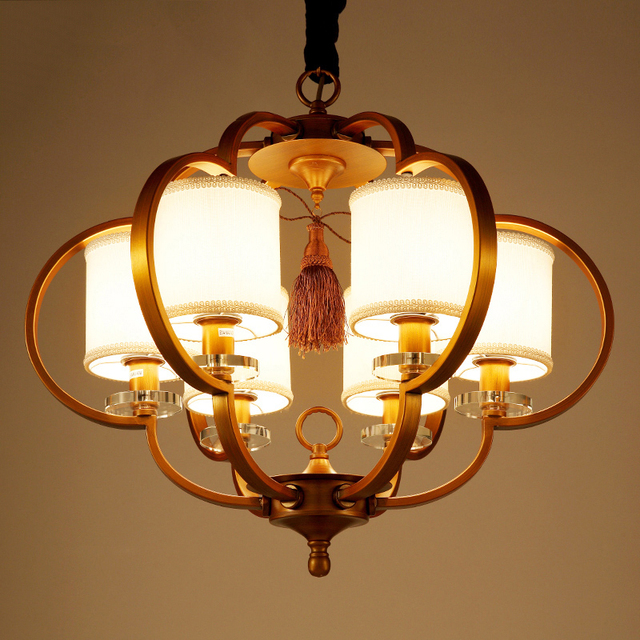 Modern New Chinese Pendant Light Retro Bronze Wrought Iron Living Room Lamps Hotels Restaurants Villas