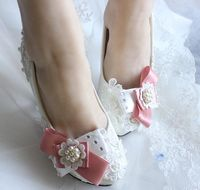 2016 New Bowtie Wedding Shoes For Women Pink Bow Lace Flowers Brides Wedding Party Pumps Shoes