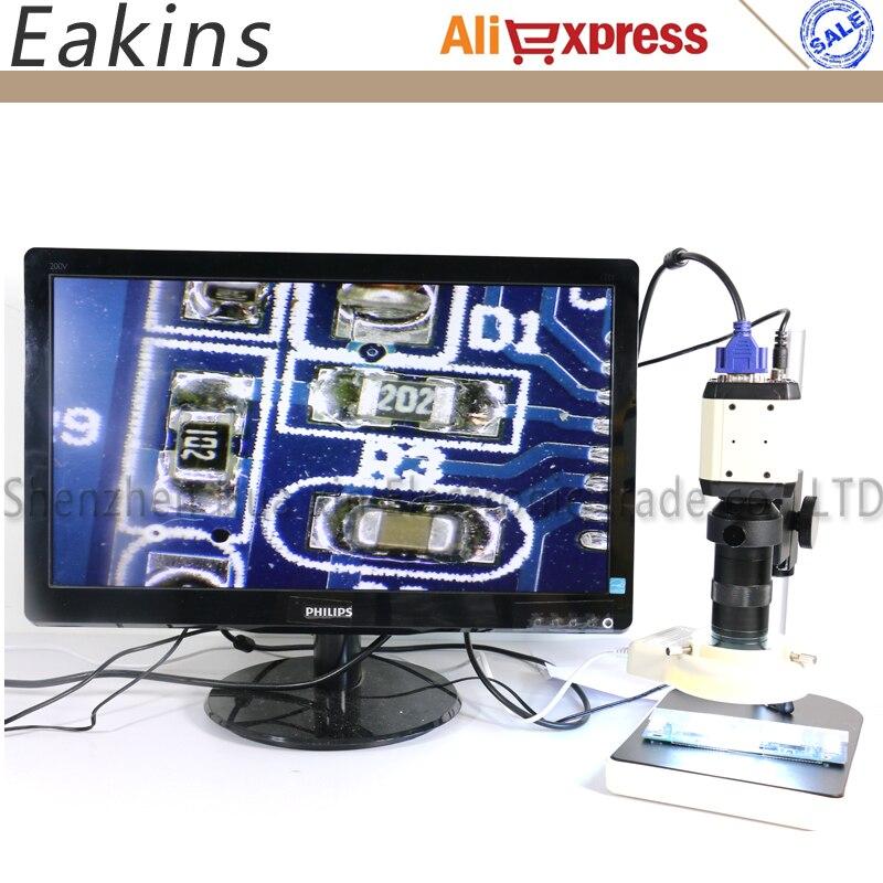 3 в 1 промышленный Cmos AV USB VGA микроскоп камера CCD + 100X C Mount объектив + 56 LED Кольцевой свет + держатель для pcb bga IC проверки