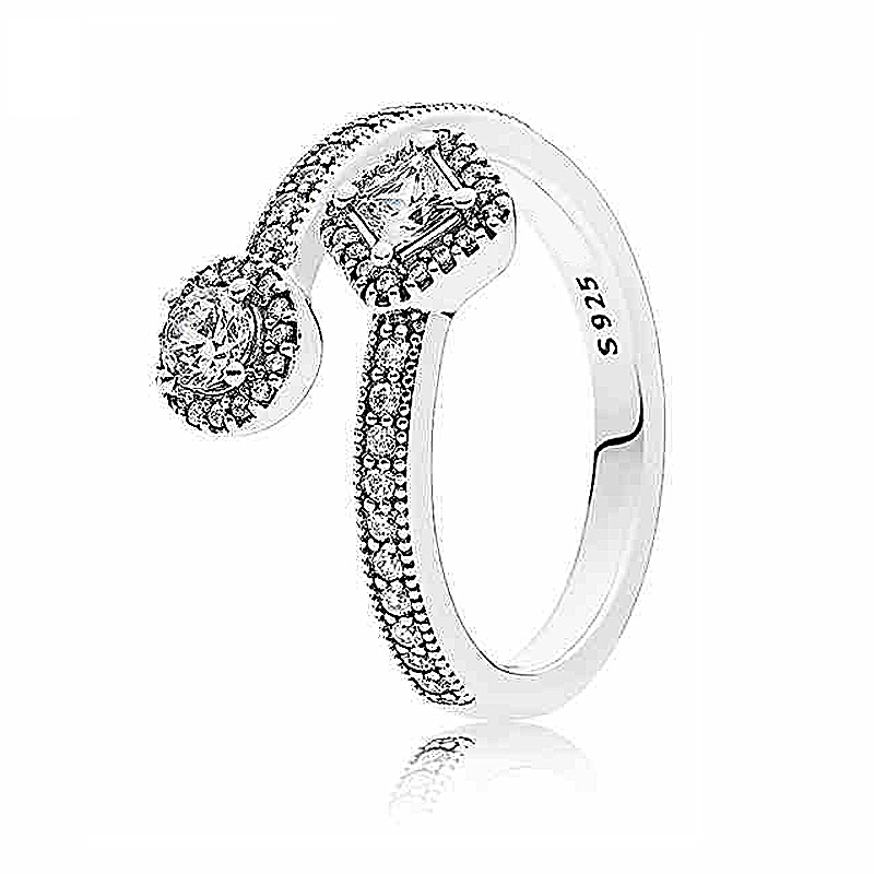 Authentic 925 Sterling Silver Ring Abstract Elegance With Crystal Ring For Women Wedding Party Gift Fine Europe Jewelry