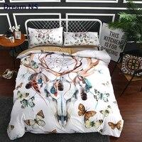 AHSNME Rainbow Butterfly Bedding Set Bohe Dreamcatcher Quilt Cover Reindeer Deco Sham Feather Duvet Cover Super King Queen
