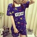 Los amantes de la Ropa de Ocio Nuevo 2017 Verano de Manga Corta de Las Mujeres Pijamas Cartón Encantadora Ropa de Dormir de Las Mujeres Pijamas Conjuntos