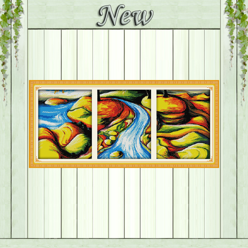 The flowing river triptych scenery painting counted printed on canvas DMC 14CT 11CT Cross Stitch Needlework Sets Embroidery kits