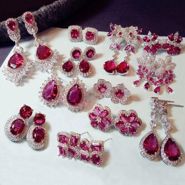 c56f5eed75db Moda geométricas Rosa rojo cristal piedra larga gota pendientes cuadrado  Oval cúbico Zirconia mujeres fiesta bodas