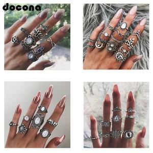 Docona Boho Finger Jewelry Crown Geometric Rhinestone Leaf Women Ring Sets Hollow Stacking Finger Rings Vintage Silver
