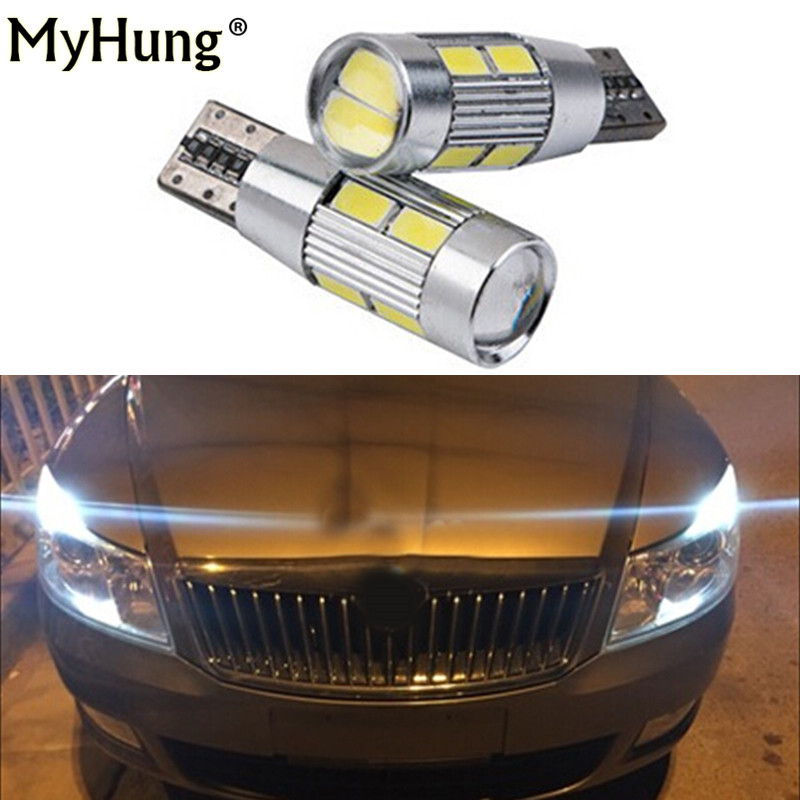 2 pcs for skoda octavia rapid fabia yeti a5 a7 drl T10 LED W5W 12V Car LED Auto Lamp Light bulbs with Projector Lens car styling car usb sd aux adapter digital music changer mp3 converter for skoda octavia 2007 2011 fits select oem radios