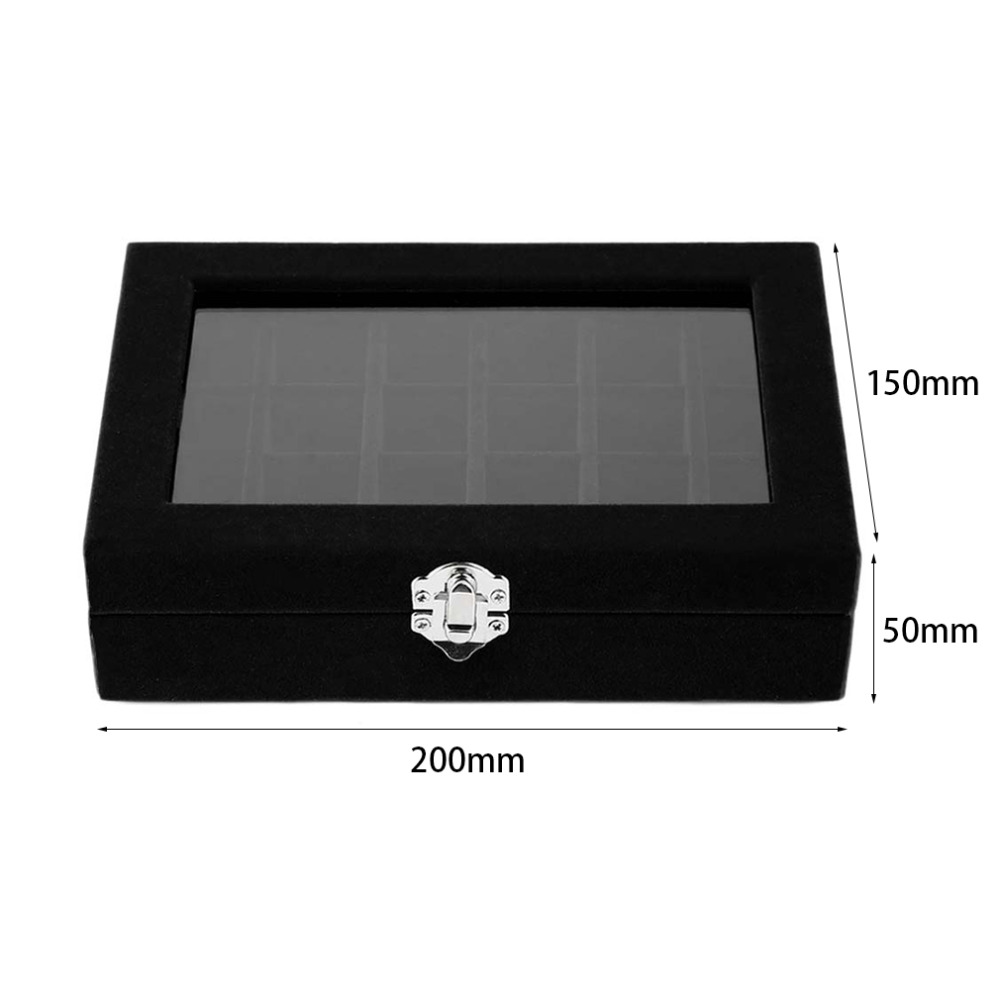 24 Slots velvet Jewelry cases women desk Jewelry Storage Box Portable Ring earrings Jewelry display Tray holder Organizer &15