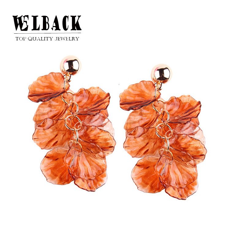 2018 New Fashion Women Earrings Jewelry Asymmetry Earrings With Orange Acrylic Flower Leaves Shape Dangle Earrings Women