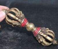 [Alt handwerk] Tibet Buddhismus Türkis Bronzevergoldung Dolch Phurba Dolch Halter-in Statuen & Skulpturen aus Heim und Garten bei