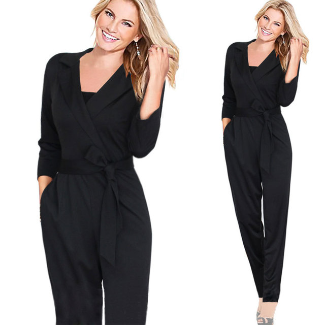 QA228 New sexy V neck lapel romper women sashes jumpersuit lady fashionable polyester overalls