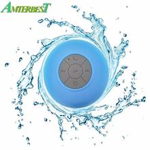 AMTERBEST Wireless Portable Waterproof Mini Bluetooth Speaker Music Sound Water Car Speakers Resistant Bathroom Shower Bar cheap Plastic Combination None 2 (2 0) Full-Range BTS06 Bluetooth speaker 20Hz-58Hz Spotify 300mAh