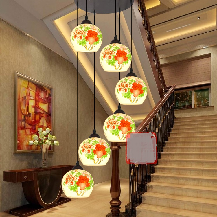 Classical style ceramic pattern Chinese porcelain ceramic pendant lights rotating staircase aisle lamp Restaurant pendant lamps chinese style classical wooden sheepskin pendant light living room lights bedroom lamp restaurant lamp restaurant lights