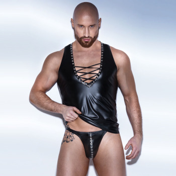 Sexy Men Shiny Lace Bandage Vest Punk Club Dance Wear With Rivets Shorts Faux Leather Underwear Male Erotic Lingerie Two Piece