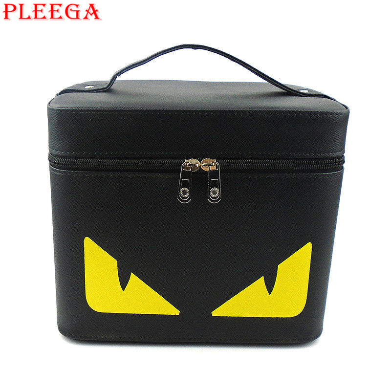PLEEGA New 2017 Small Monster Cosmetic Bag for Necessaire Women Make Up Case PU Cartoon Makeup Brand Boxs