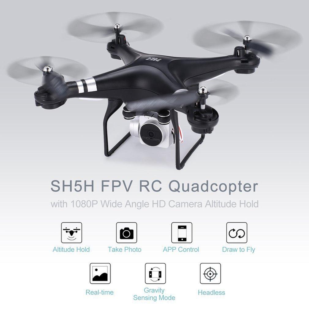 SH5H 2.4G FPV RC Drone 720/1080 p grand Angle HD Wifi caméra sans tête Mode gravité sens retour clé RC quadrirotor Dron RTF 2 Batter