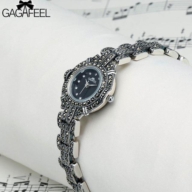 Gagafeel Элитный бренд 925 Стерлингов Серебряные часы женщина бизнес genva Повседневные часы Женское платье наручные часы