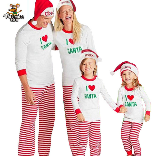 dad3af0122 Family New Year Christmas Pajamas Family Matching Clothes Mother Daughter  Father Son Mon Family Look SANTA Striped clothes set