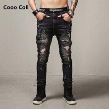 Джастин Бибер Страх божий Рваные джинсы Хип-Хоп джинсы мужчин мода байкер джинсы отверстие джинсы Kanye West Карандаш Брюки Cooo Coll