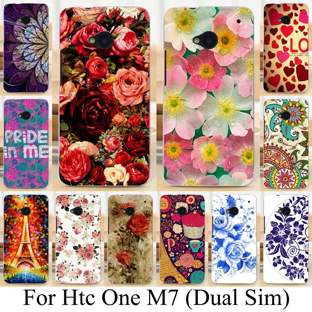 Suave tpu pintada case para htc one m7 802 w (Dual Sim) 802d 802 t teléfono 801e