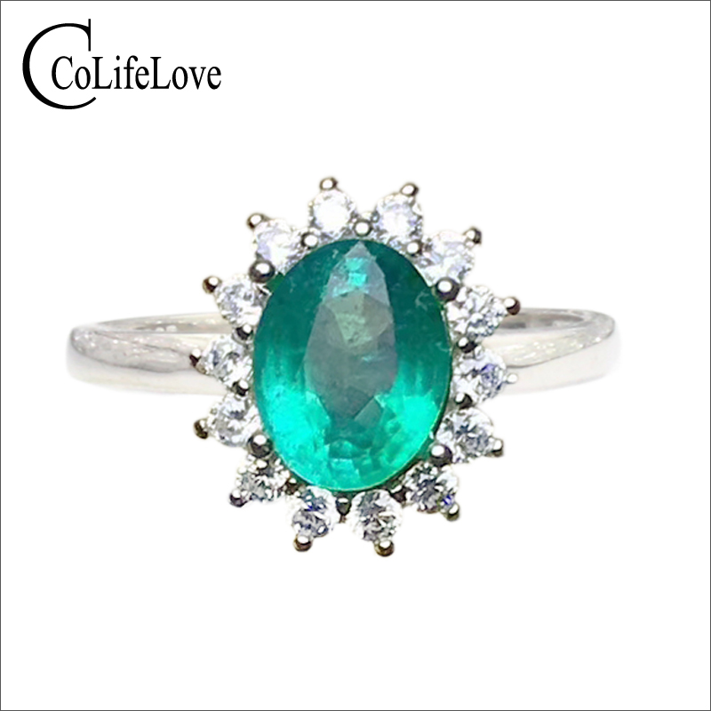 Classic emerald wedding ring for woman 2 ct 7 mm * 9 mm natural Zambia emerald silver ring solid 925 silver emerald jewelry цены