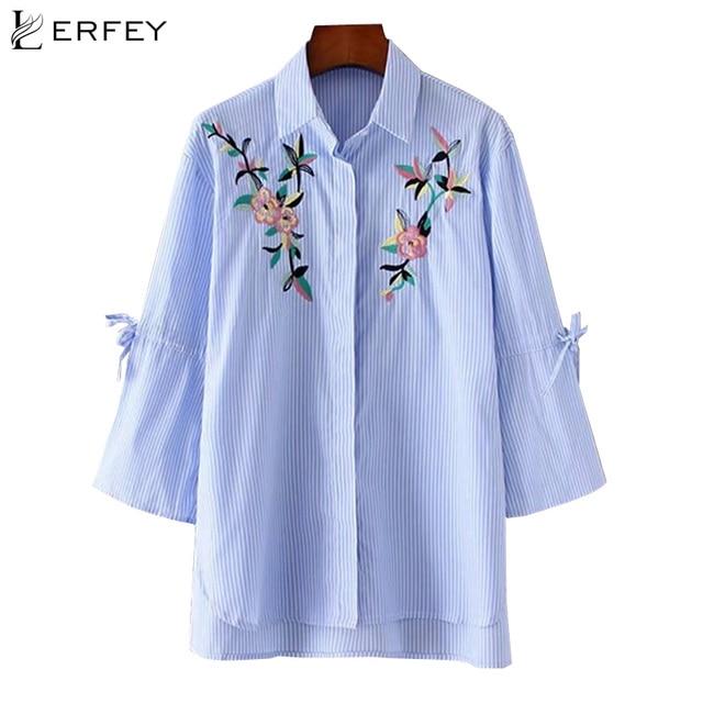 e8e6f82a500 Lerfey женщин вышитые блузки лето-осень синий в полоску блузка свободную рубашку  отложной воротник с