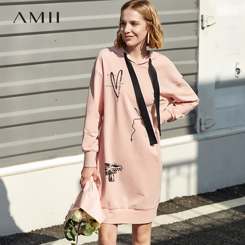 Amii Minimalist Hooded Sweatshirt Dresses Women Spring 2019 Causal Printed Letters Loose female preppy style dresses