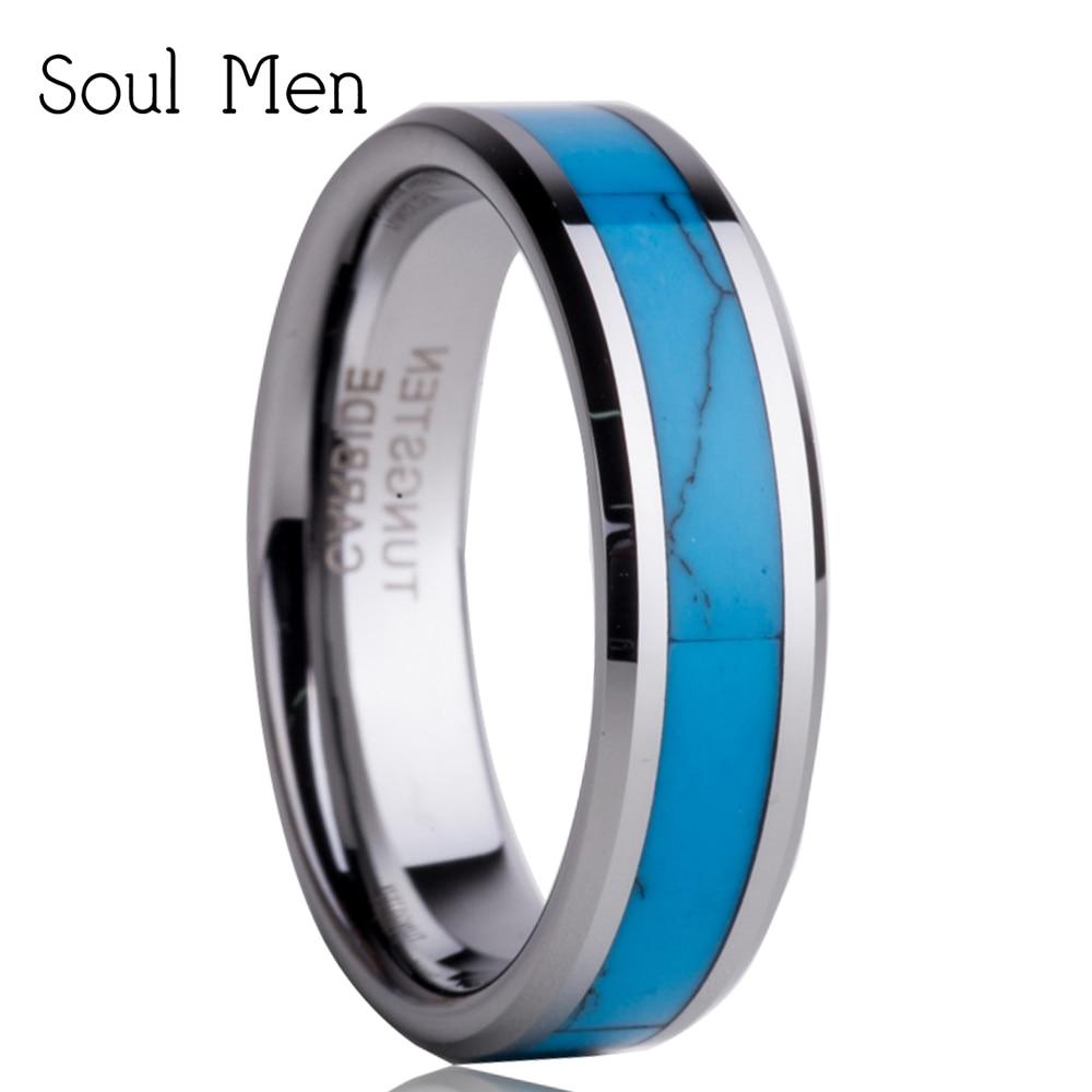Free Shipping 5mm Tungsten Engagement Wedding Ring With Turquoise Inlaid,  Mem & Ladies Fashion Jewelry TU0055R mariposa en plata anillo
