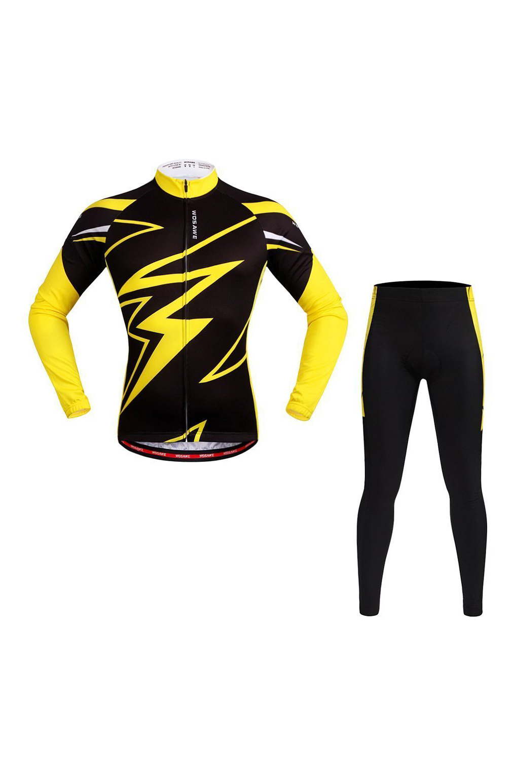 Super sellWOSAWE Mens Breathable Cycling Jersey 3D Padded Shorts Set(L Yellow & Black)