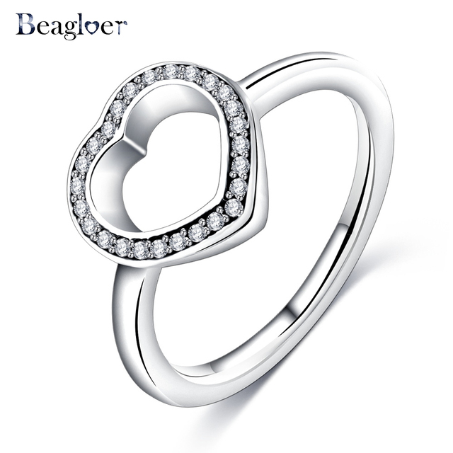 Beagloer Fashion Silver Color Rings Elegance Clear CZ Flower Finger Rings For Wo