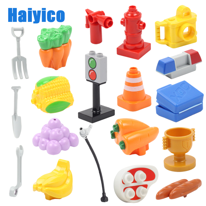 Large Building Blocks Basic Toy Compatible Duplos Big Size Multifunction Accessories Fruit Food Traffic Cones Mark Children Gift