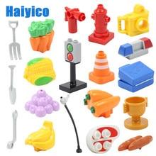 Grandes blocos de construção brinquedo, compatível com duplos, tamanho grande, acessórios multifuncionais, fruta, tráfego de alimentos, marca, presente para crianças