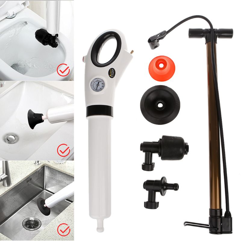 High Pressure Toilet Plunger Manual Air Drain Blaster Dredge Clog Remover For Toilets Kitchen Bathtub Showers Sink Remover Tool