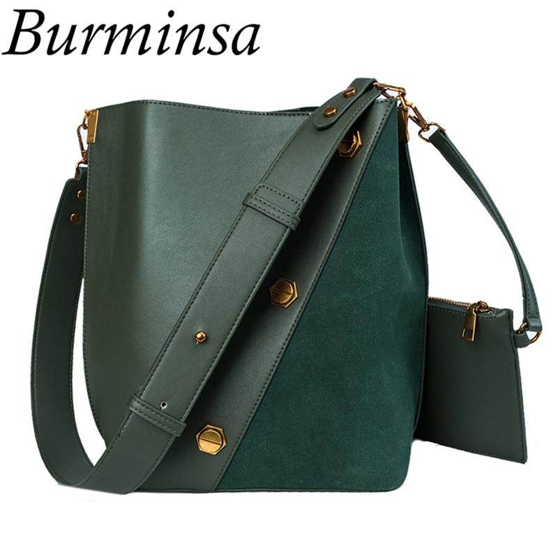 Burminsa Autumn Big Green Bucket Bags Female Suede Purses And Handbags Women High Quality Large Shoulder Messenger Bags 2019 New