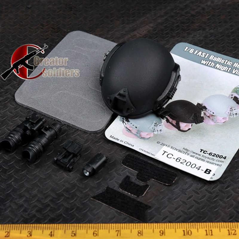 """1/6 масштабные аксессуары 62004 пуленепробиваемый шлем/62005 Crash зонтик шлем Bk/Sand/ACU/Cam TC 12 """"фигурка солдата"""