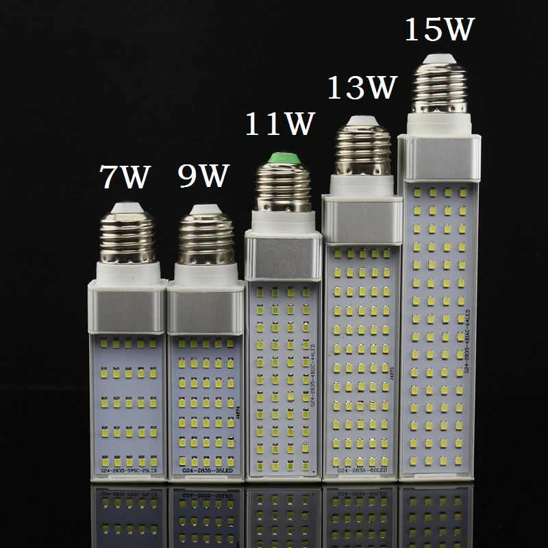 Lampada E27 G24 G23 7 w 9 w 11 w 13 w 15 w 110 v 220 v 240 v תקע אופקי מנורת SMD2835 Bombillas LED PL תירס הנורה ספוט אור תאורה