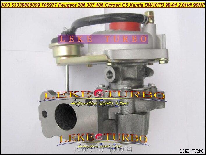 K03 53039880009 VP1 VF40A104 706977-0003 706977 Turbo For Peugeot 206 307 406 For Citroen C5 Xantia DW10TD RHY 98- 2.0L HDI 90HP peugeot 307 1 6 hdi