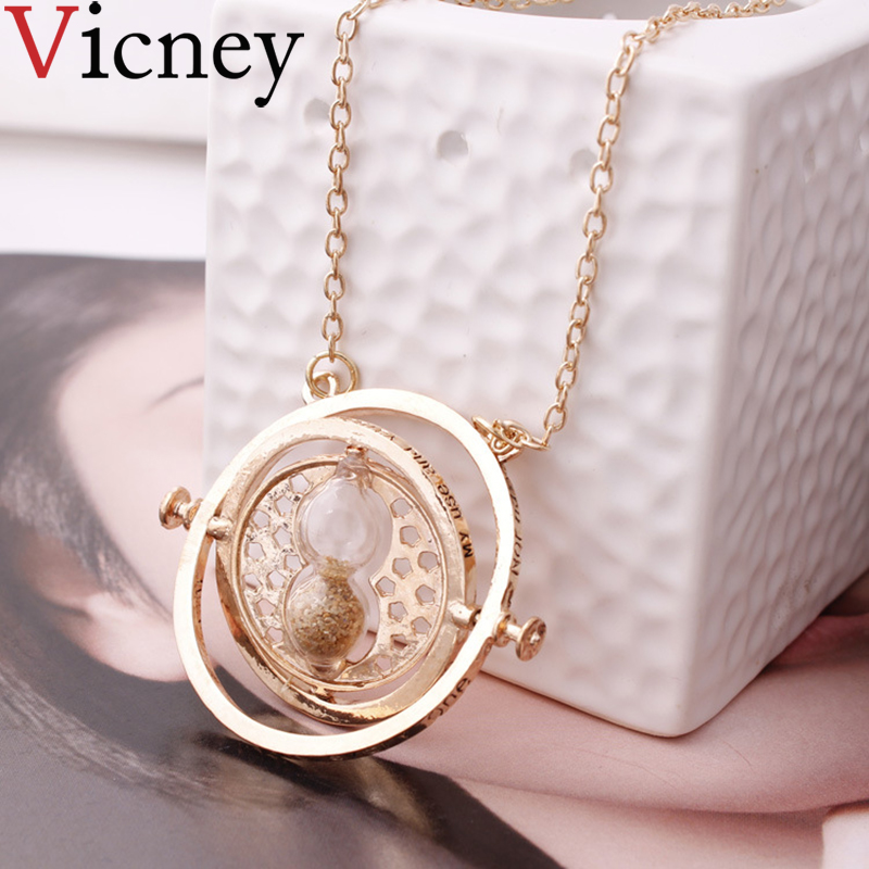Harri Potter Time Converter Hourglass Pendant Necklace Vintage Creative 360 Degree Rotatable Chains Necklace For Women Jewelry(China)