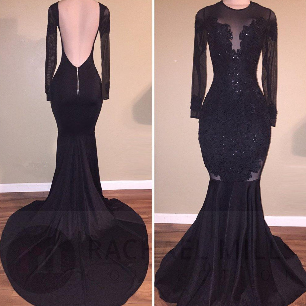 Vintage Black Mermaid Prom Dresses 2019 Vestidos De Fiesta De Noche Long Sleeve Evening Dress Backless Sheer Formal Party Gowns in Prom Dresses from Weddings Events