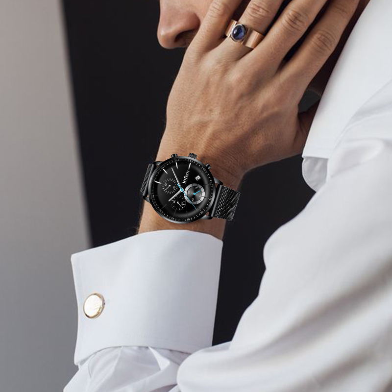 Montres pour hommes Top marque de luxe BIDEN hommes montres en acier montre à Quartz analogique courbe visage étanche Sports de plein décontracté - 5
