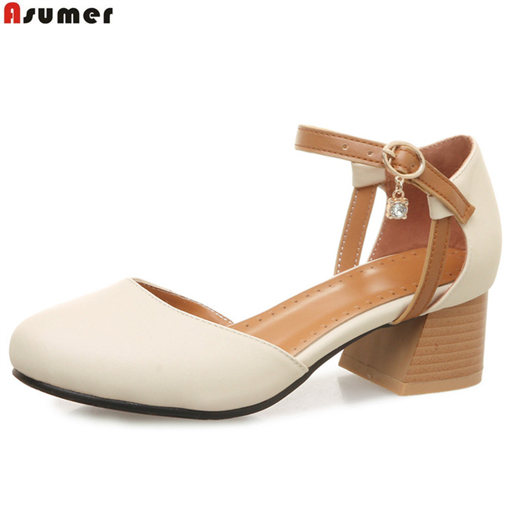 ASUMER pink beige fashion spring autumn ladies single shoes round toe buckle square heel women med heels shoes plus size 32-46 asumer beige pink fashion spring autumn shoes woman square toe casual single shoes square heel women high heels shoes