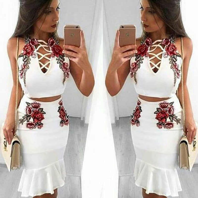 7a3479d8262 Summer Clothes For Women Two Piece Suit Sexy Floral Embroidery Crop Top and  Short Skirt Set