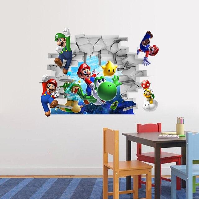 Super mario cartoon wall stickers for kids room nursery kindergarten classroom wall stickers - Deco chambre mario ...